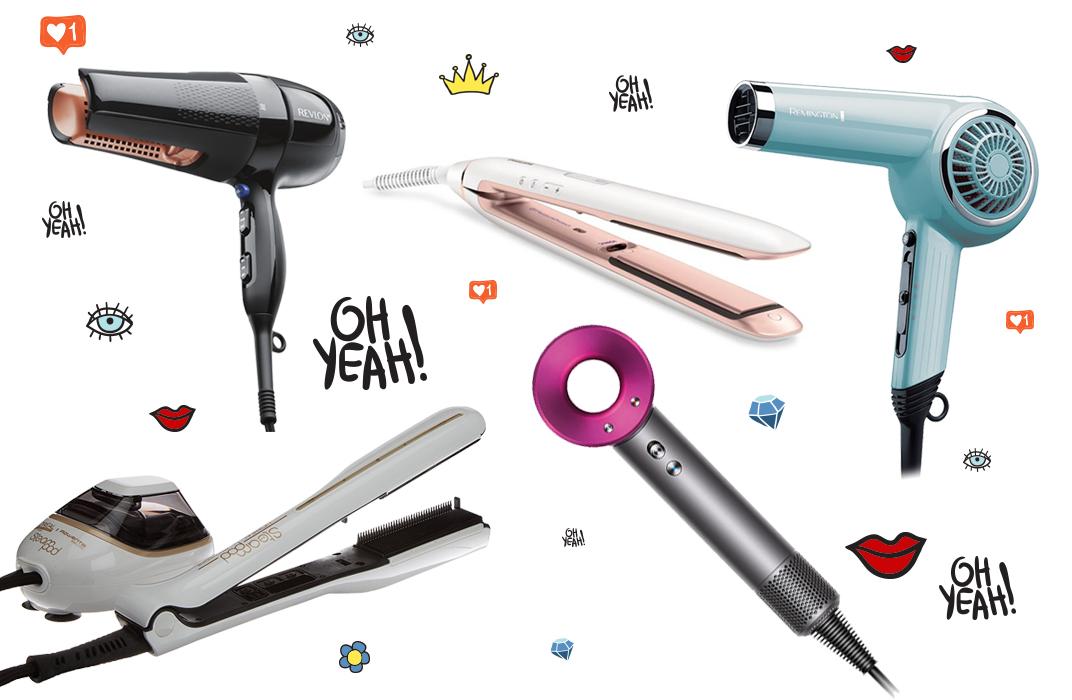 Collage mit Hairstyling und Föhn Gadgets